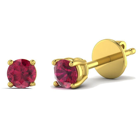 14K Yellow Gold Single Stud Earrings with Rubelite