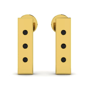 14K Yellow Gold Studded Rectangle Earrings with Black Onyx
