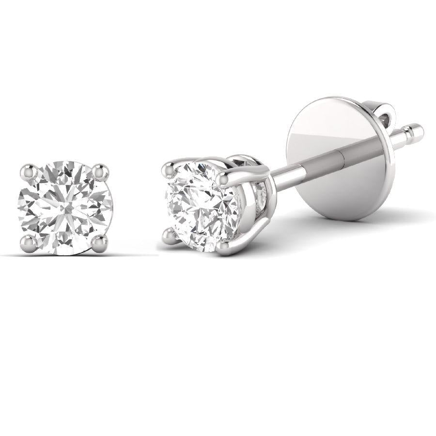 14K White Gold Stud Earrings with Diamond
