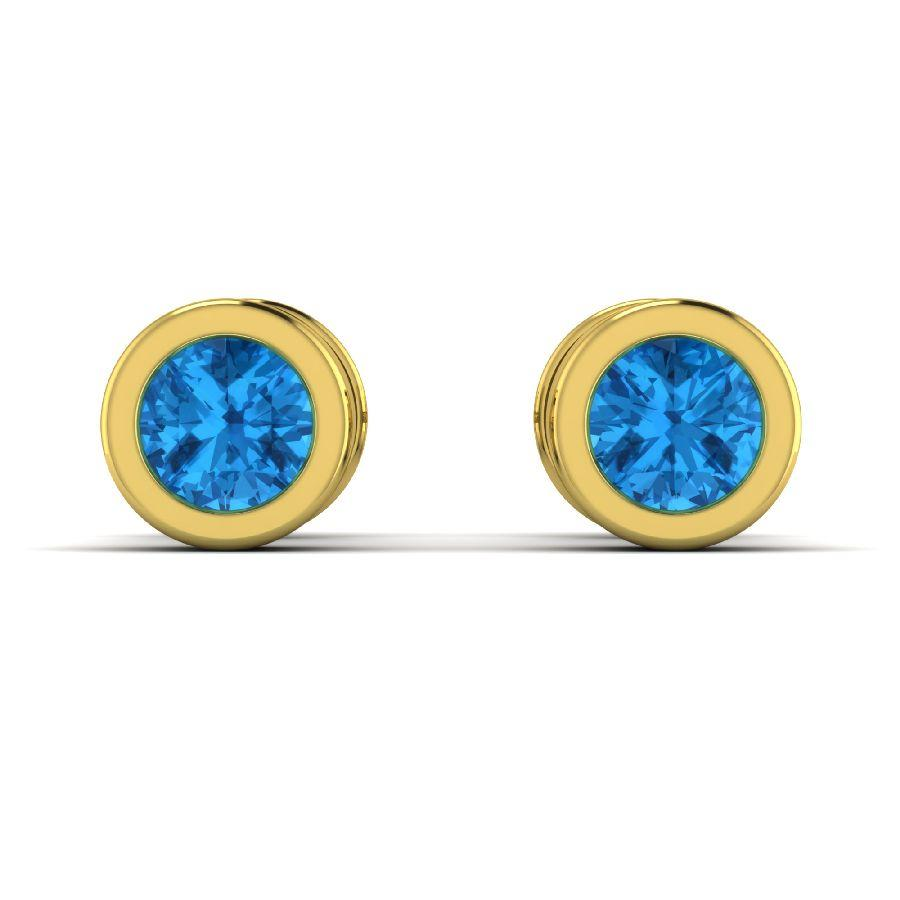 14K Round Yellow Gold Stud Earrings with Blue Topaz
