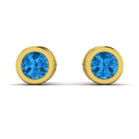Image of 14K Round Yellow Gold Stud Earrings with Blue Topaz