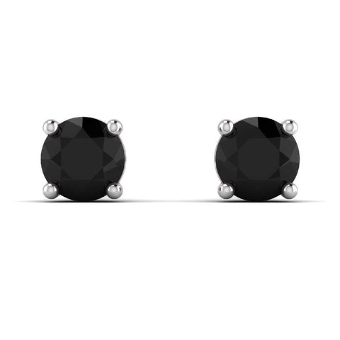 Image of 14K White Gold Single Stud Earrings with Black Onyx