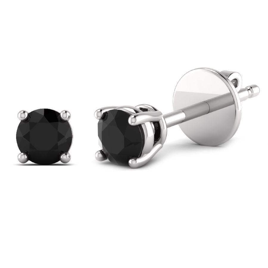 14K White Gold Single Stud Earrings with Black Onyx