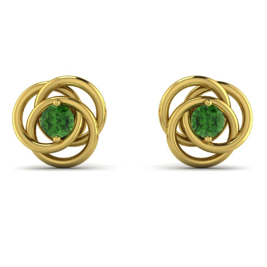 14K Yellow Gold Twisted Stud Earrings with Green Tourmaline