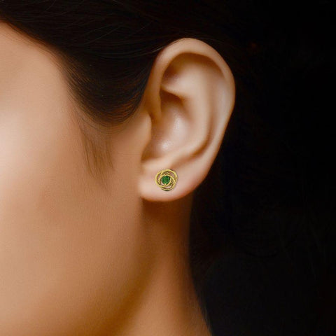 Image of 14K Yellow Gold Twisted Stud Earrings with Green Tourmaline