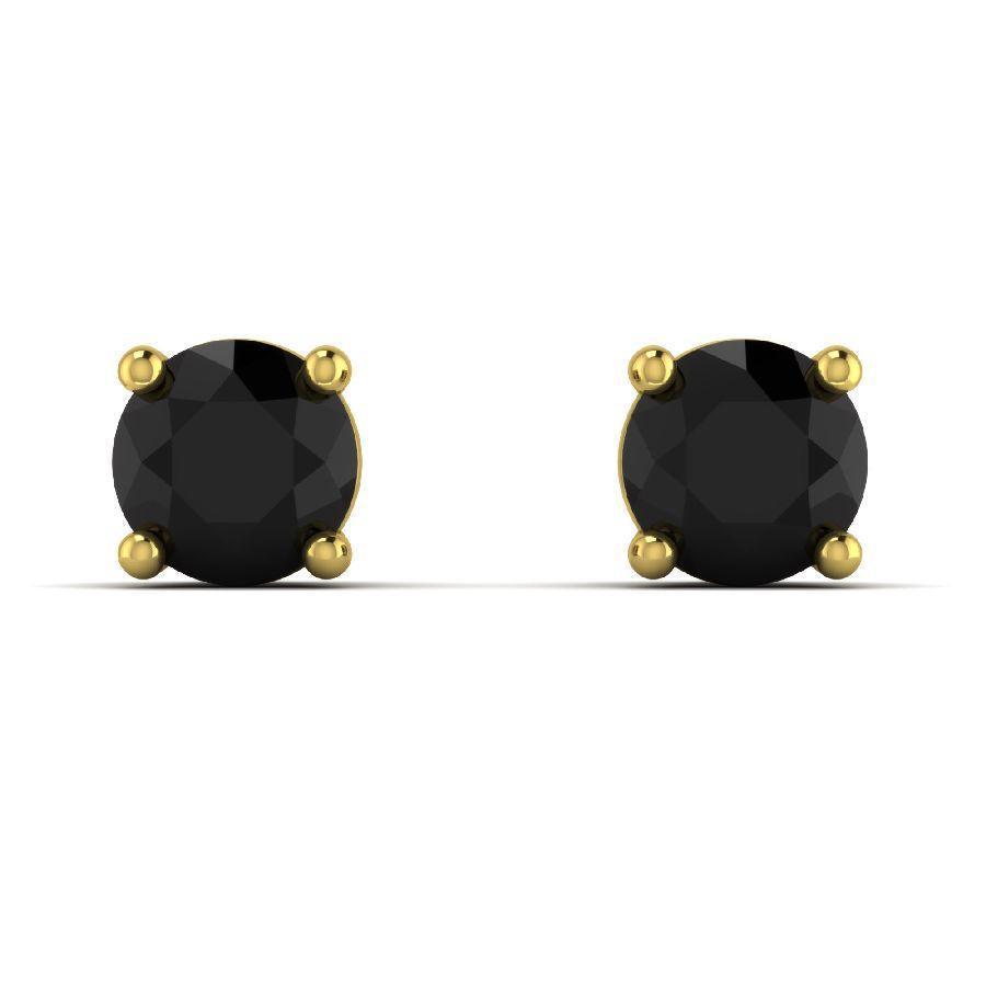 14K Yellow Gold Single Stud Earrings with Black Onyx