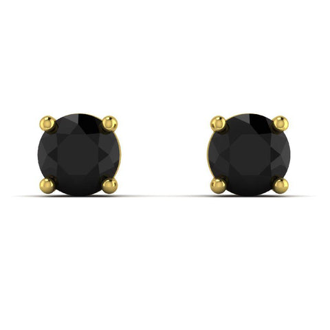 Image of 14K Yellow Gold Single Stud Earrings with Black Onyx