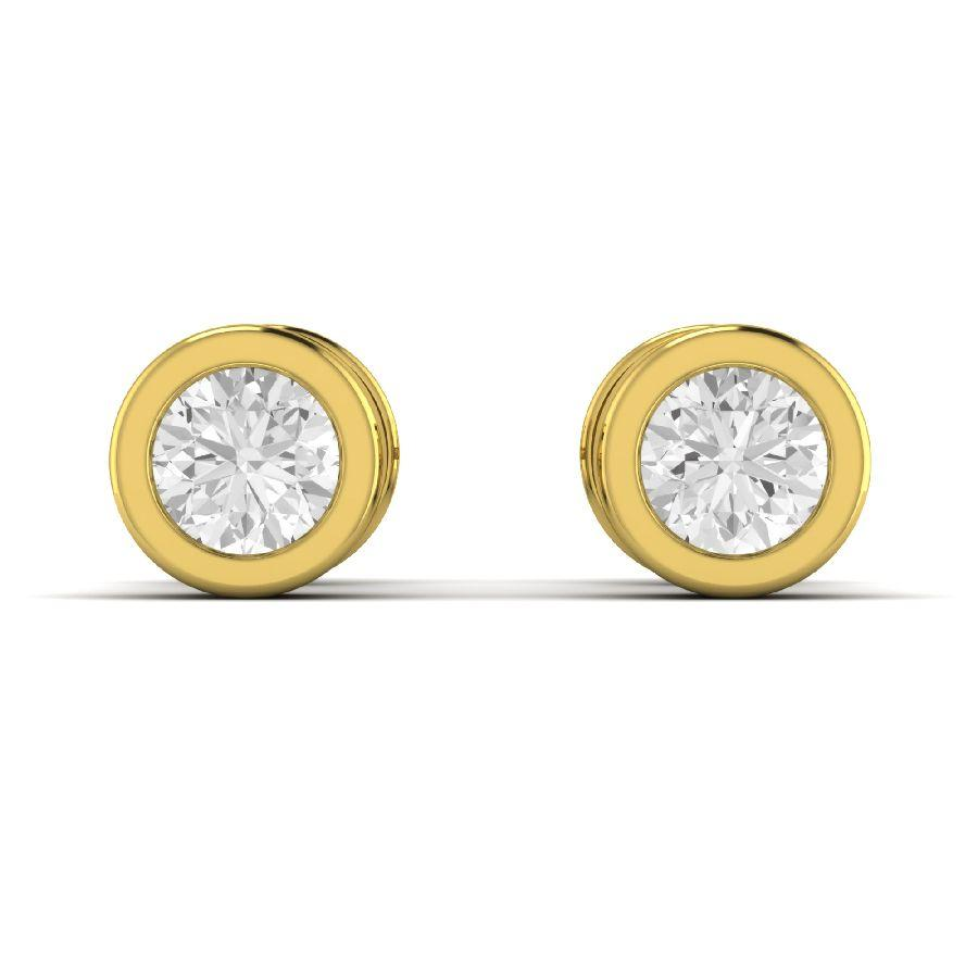 14K Round Yellow Gold Stud Earrings with Diamond