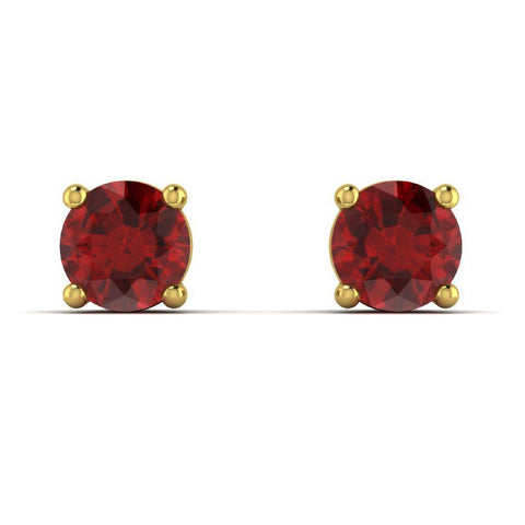 14K Yellow Gold Single Stud Earrings with Red Garnet
