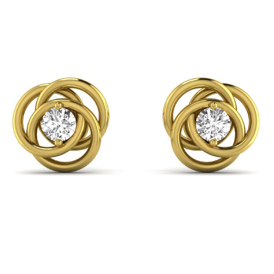 14K Yellow Gold Twisted Stud Earrings with Diamond