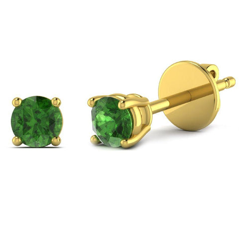 14K Yellow Gold Single Stud Earrings with Green Tourmaline