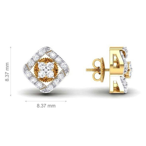 Image of Trendy Studs and Tops in Yellow Gold