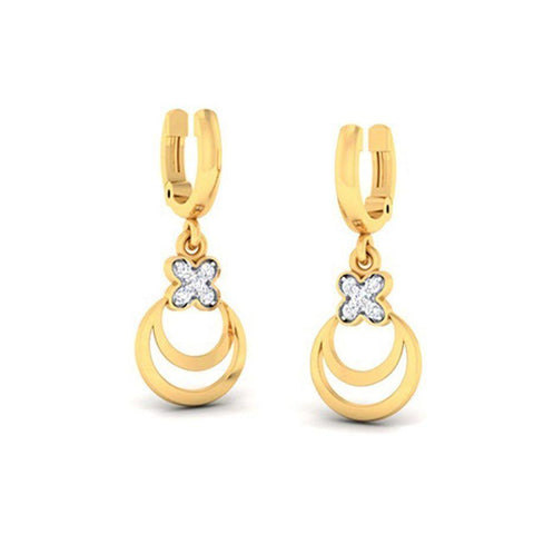 Image of Stylish Hoops and Balis in Yellow Gold