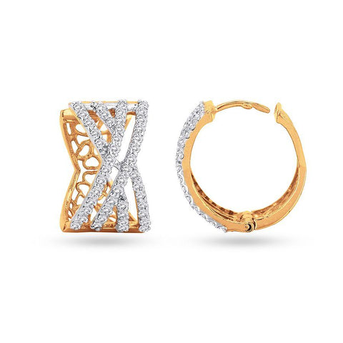 Image of Contemporary Hoops and Balis in Yellow Gold