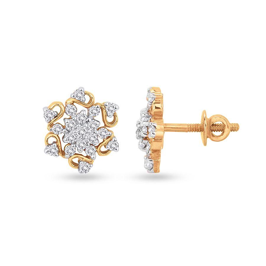 Trendy Studs and Tops in Yellow Gold