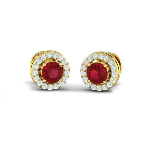 Image of 4 Prong Gemstone Halo Studs(.68 ct  st.w)