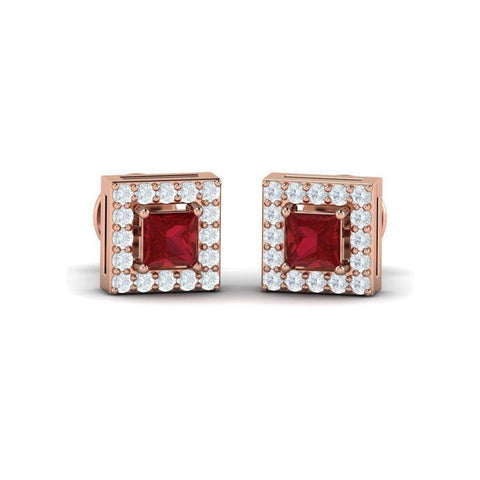 Image of Princess Gemstone Halo Studs(0.66 ct  t.w.)