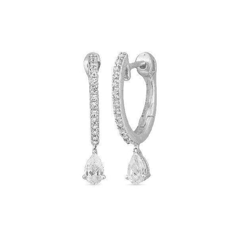 Image of Silver and Cubic Zirconia Modern Danglers and Drops