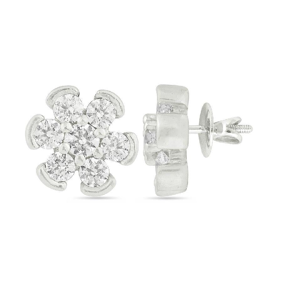 Silver and Cubic Zirconia Stylish Studs and Tops