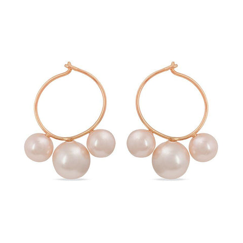 Image of Silver and Fashion Pearl Stylish Hoops and Balis