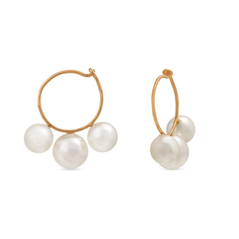 Silver and Fashion Pearl Neo Hoops and Balis