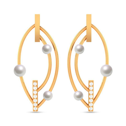 Image of Fashion Pearl Modern Statement Earrings