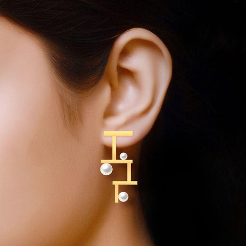 Image of Fashion Pearl Contemporary Statement Earrings