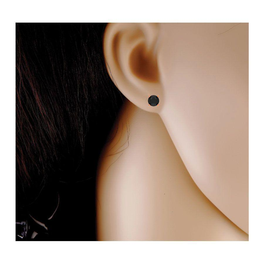 6 mm Black Diamond Ear Studs