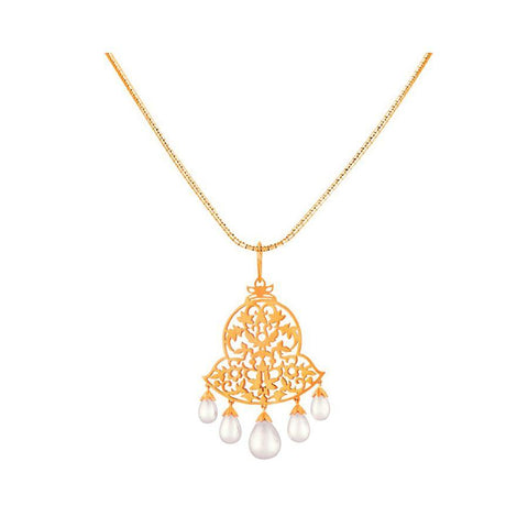 Bell Shaped Filigree Pearl Pendant