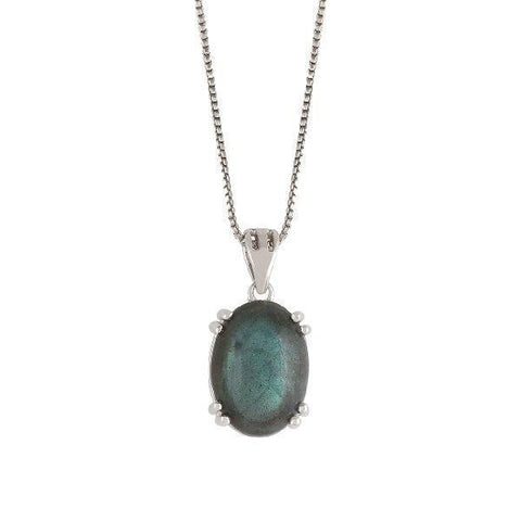 Image of Silver Pendant with Labradorite Gemstone
