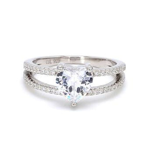 AD White Heart Solitaire Split Shank.