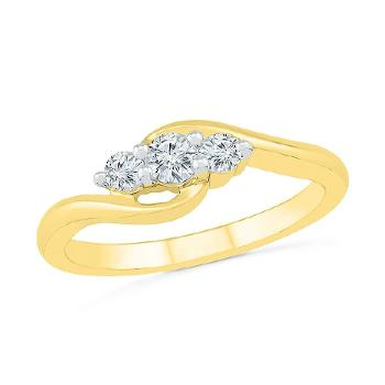 Image of Twist of Love 3 Stone Diamond Ring