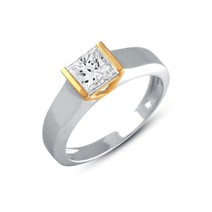 Mens Princess Solitaire Wedding Ring