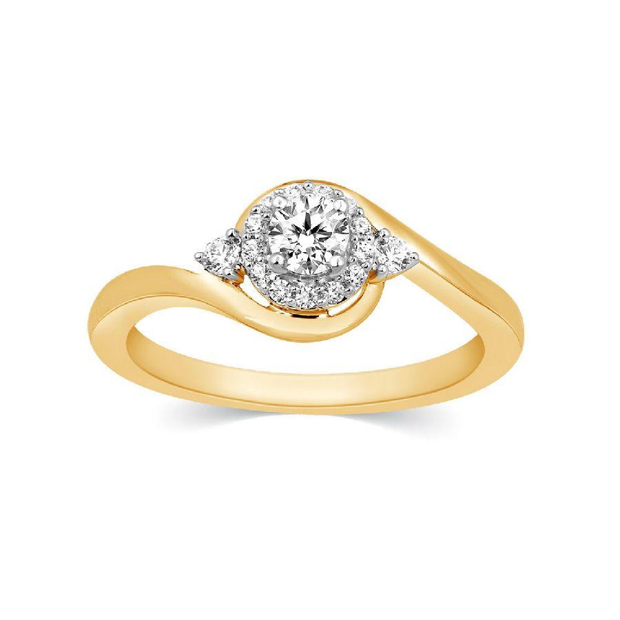 Contemporary Engagement Rings in Yellow Gold
