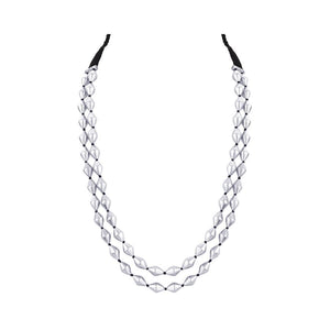 DUAL STRAND DHOLKI BEAD SILVER NECKLACE