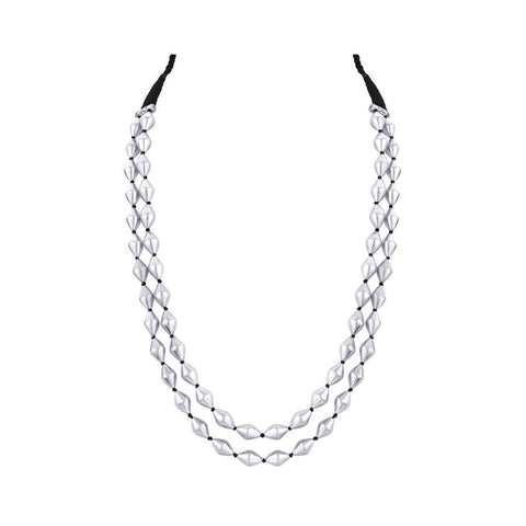 Image of DUAL STRAND DHOLKI BEAD SILVER NECKLACE