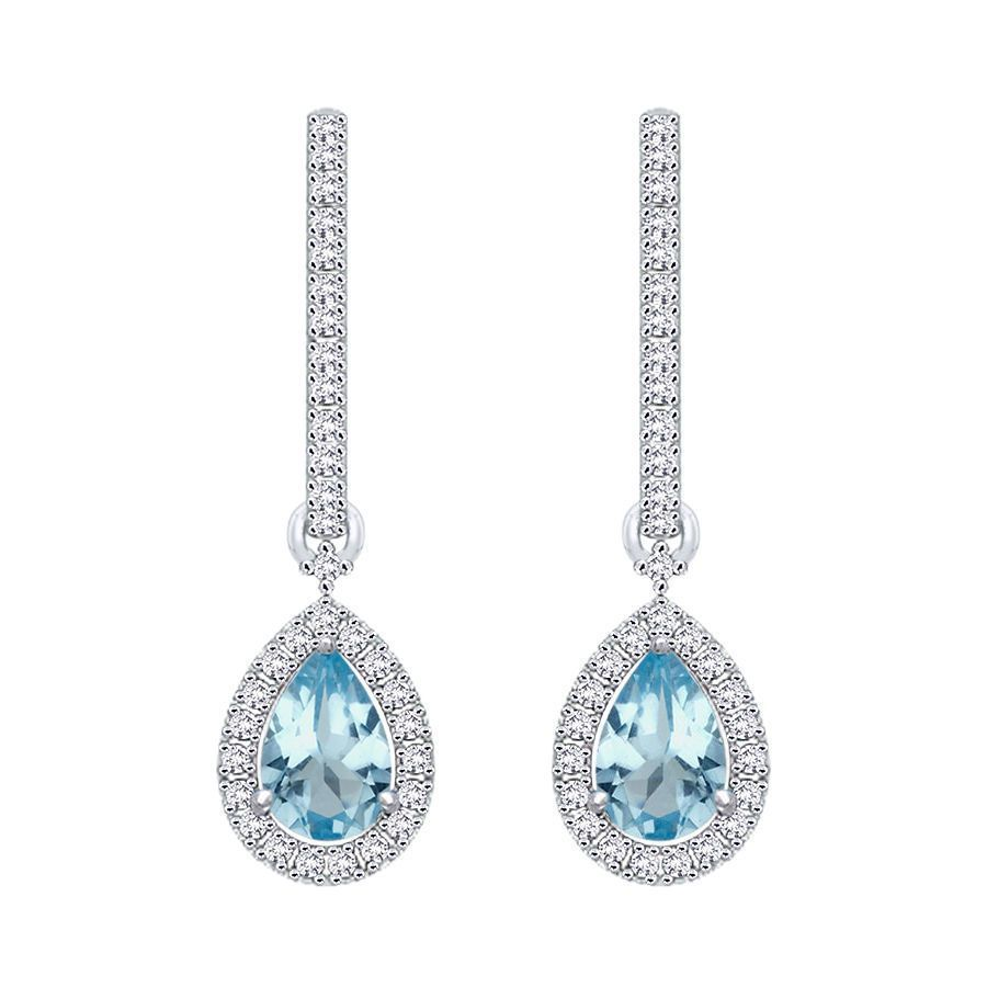 Aquamarine and Diamond Accent Earring