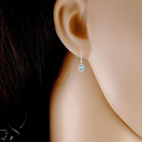 Image of Aquamarine and Diamond Accent Earring