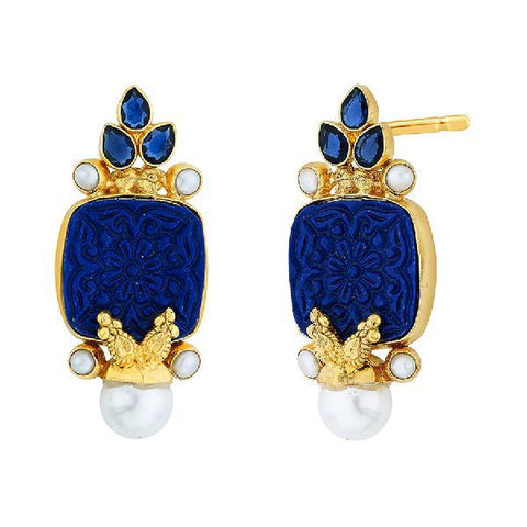 Image of Blue Carved Stoneearrings