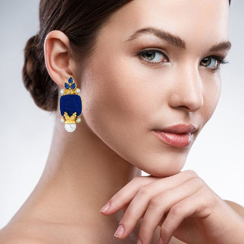 Blue Carved Stoneearrings