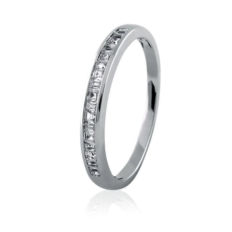 Channel Set Princess-Baguette Eternity Band