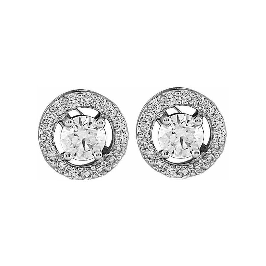 Classic Round Halo Solitaire Studs (0.45ct t.w)