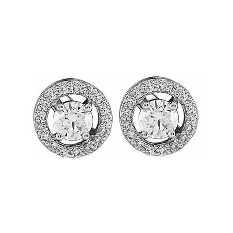 Image of Classic Round Halo Solitaire Studs (0.45ct t.w)