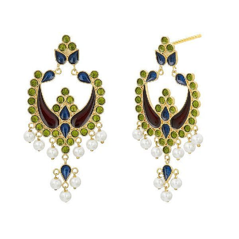 Image of Colourful Enamel Chandbali Earrings