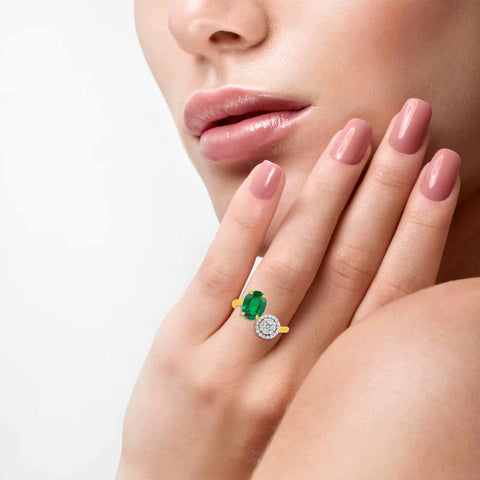Dainty Emerald And Diamond Ring