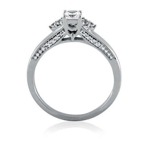 Image of Decorative Princess Cut Diamond Solitaire Ring