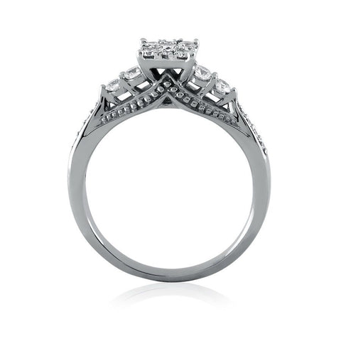 Image of Diamond Cluster Criss-Cross Shank Engagement Ring