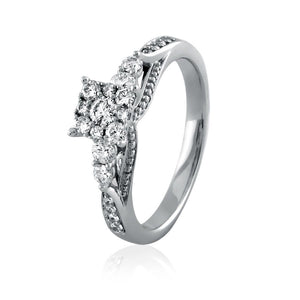 Diamond Cluster Criss-Cross Shank Engagement Ring