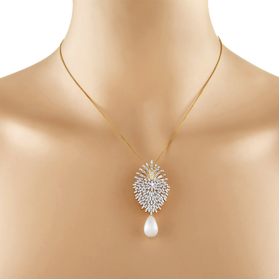 Diamond Cluster Drop Pendant