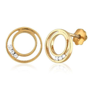 Double Circle Cubic Zirconia Accent Earrings